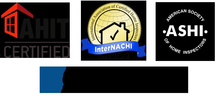 American Home Inspectors Training AHIT Certified logo, American Association of Certified Home Inspectors InterNACHI Certified logo, American Society of Home Inspectors ASHI logo, SentriLock logo