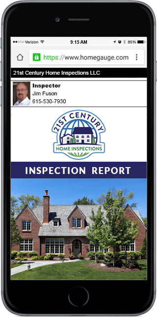 Smartphone showing an online home inspection report